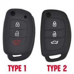 Autoschlüsseletui aus Silikon - Hyundai - Elantra - Tucson - i40 - i20 - i10 - Creta - Santa Fe - 3 Tasten