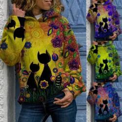 Hoodie mit Katzendruck - Langarm pullover