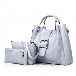 Ladies leather handbag set - with messenger bag and purse - 3pcs/set