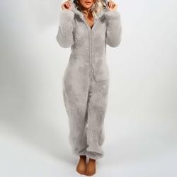 Plüschspielanzug mit Hoodie und Reißverschluss - Winterpyjama
