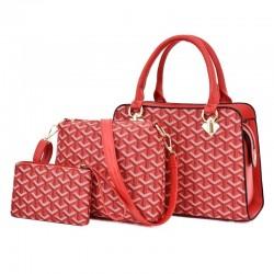 Bolso de piel - bandolera - bolso de mano pequeño - diseño geométrico - conjunto de 3 piezas