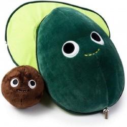 Avocado Plüschkissen - mit kleinem Spielzeug im Inneren