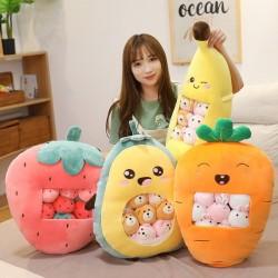 Plüschkissen mit kleinen Spielsachen - transparente Tasche - Erdbeere - Avocado - Banane - Karotte