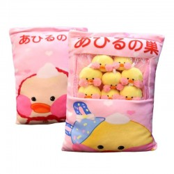 Plush pillow with 8 small ducklings balls