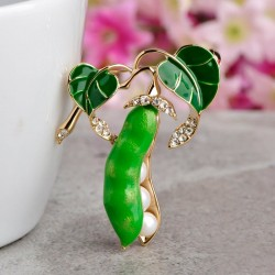 Enamel green pea brooches