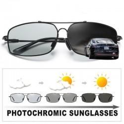 Polarized photochromic metal sunglasses for men