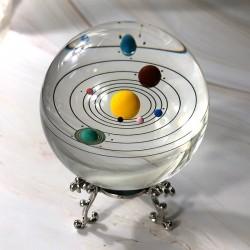 Kristallkugel des Sonnensystems - ein Modell von Miniaturplaneten - eine Glaskugel - 80mm