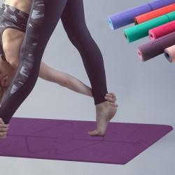 Yogamatte mit Positionslinien - Fitnessstudio - Pilates - Fitness - rutschfeste Sportmatte