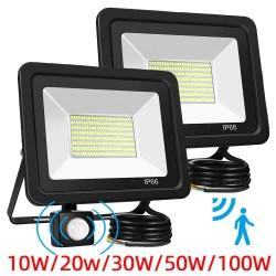 10W - 20W - 30W - 50W - 100W - 220V - Proyector LED - Reflector impermeable - Luz exterior - Sensor de movimiento PIR