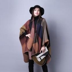 2020 New Fashion Winter Warm Plaid Ponchos And Capes For Women Oversized Shawls Wraps Cashmere Pashmina Female Bufanda Mujer