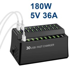 180W 36A - charge rapide - Chargeur USB intelligent avec 30 ports USB - pour iPhone - Samsung