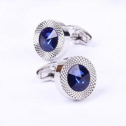 Runde blaue Kristallmanschettenknöpfe - 2 Stück