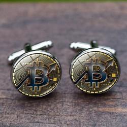 Crypto-monnaie - boutons de manchette ronds - 2 pièces
