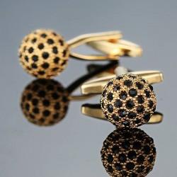 Boule dorée avec cristaux noirs - boutons de manchette - 2 pièces