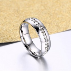 Crystal stone ring for women - stainless steel