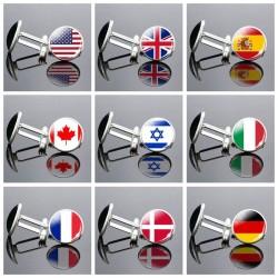 Nationalflagge - runde Glasmanschettenknöpfe - mit Box