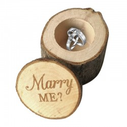 Wooden ring holder case - ring engagement - marry me logo