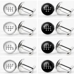 Glasgetriebe - weiß - schwarz runde Manschettenknöpfe - 2 Stück