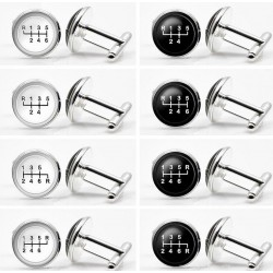 Glass gearbox - white - black round cufflinks - 2 pieces