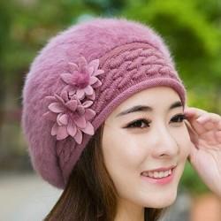 Beret hat - women - fur - with flower design