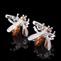 Crystal amber bee - cufflinks - 2 pieces