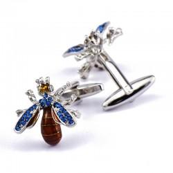 Kristallblaue Biene - Manschettenknöpfe - 2 Stück