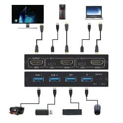 Rozdzielacz KVM 4K - HDMI - USB - współdzielony monitor - klawiatura - z 2 portami