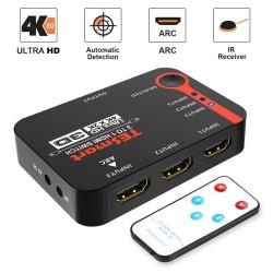 Przełącznik HDMI - 3x1 4K2K - rozdzielacz - Ultra HD dla DVD HDTV Xbox PS3 PS4 - pilot