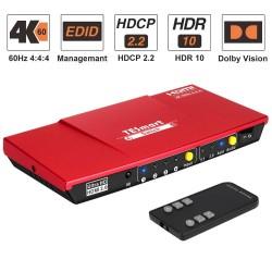 Przełącznik HDMI - wyjście 4 w 1 - z wyjściem audio S / PDIF i L / R - HDTV 4K 60 Hz 4: 4: 4 - pilot na podczerwień