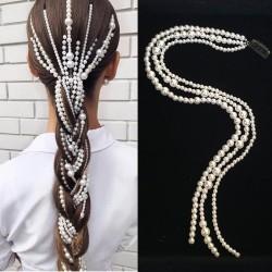 Przedłużanie włosów w stylu punk - 3-rzędowy łańcuszek - spinka z perełkami