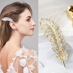 Kristallfeder - Blatt - Haarspange