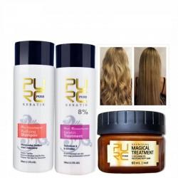 Prostowanie i naprawa zniszczonych włosów - brazylijska kuracja keratynowa - szampon - odżywka - maska - 3 sztuki