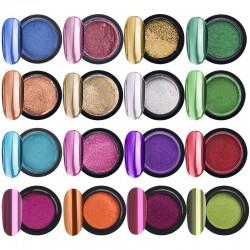 Chrome nail powder - eye shadow sticks - 16 jars