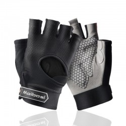 Mit dem Fitnessstudio gepolsterte Handschuhe - rutschfester Silikongriff - mit Handgelenkwickel