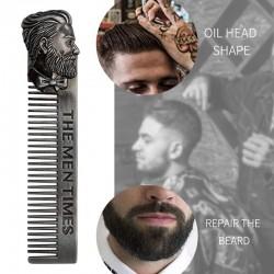 Gentlemen styling comb - beard hair - metal - with bearded man emblem