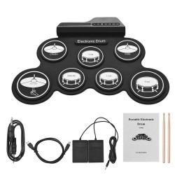 Electronic drum set - USB - silicone - 7-pad - with drumsticks