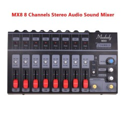 MX8 mixing console - 8 channels - audio sound mixer - low noise - with power adapter