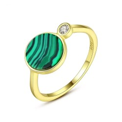 Fashionable gold ring with green malachite & crystal - 925 sterling silver