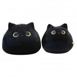 Schwarzes Katzen - Baumwollkissen - Plüschtier