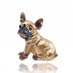 Small dog - gold plated brooch