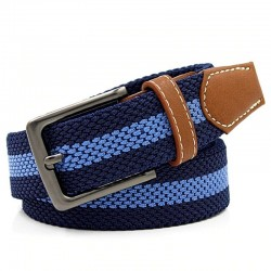Braided belt with metal buckle