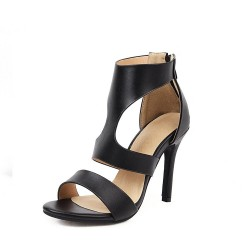 High heel sandals - ankle length - with a back zipper