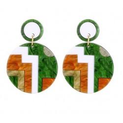 Round acrylic earrings - multicolour geometric design