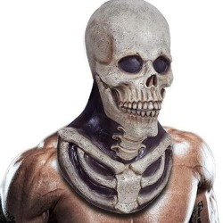 Gruselige Skelettmaske - mit Brustknochenstück - Latex - voller Kopf