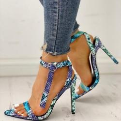Sandalen mit hohen Absätzen - Schlangenhautdesign - offener Zeh - mit Knöchelriemen