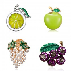 Fruit brooch pins - blueberry / grapes