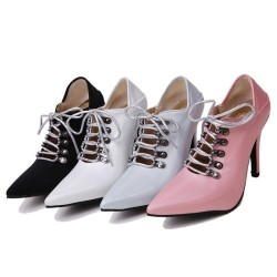 Cross-tied high heel sandals - ankle length - lace-up