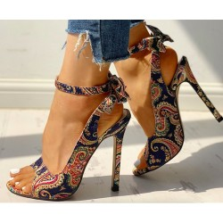 High heel pumps - ankle length - open toe - with a back zipper - colorful design