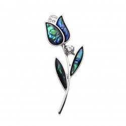 Vintage tulip brooch - with colourful shell & crystal
