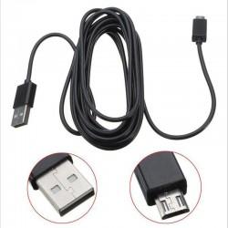 Playstation 4 - PS3 - Câble de charge du contrôleur Xbox One - 3 mètres - Micro USB